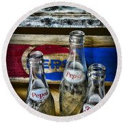 Pepsi Bottles And Crates Round Beach Towel