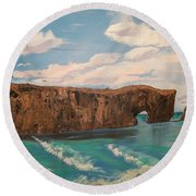 Round Beach Towel featuring the painting Perce Rock by Sharon Duguay