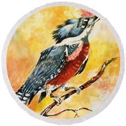Round Beach Towel featuring the painting Perched Kingfisher by Al Brown
