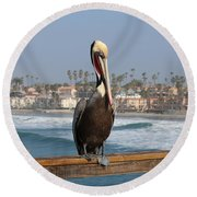 Perched On The Pier Round Beach Towel