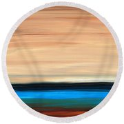 Perfect Calm - Abstract Earth Tone Landscape Blue Round Beach Towel