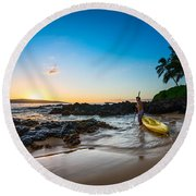 Perfect Ending - Beautiful And Secluded Secret Beach In Maui Round Beach Towel