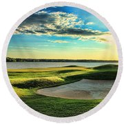 Perfect Golf Sunset Round Beach Towel by Reid Callaway
