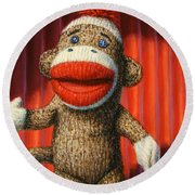Performing Sock Monkey Round Beach Towel