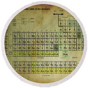 Round Beach Towel featuring the mixed media Periodic Table Of Elements by Brian Reaves