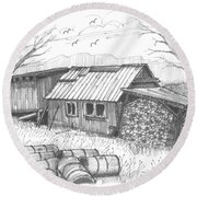 Perkins Maple Sugar House Round Beach Towel