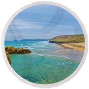 Perranporth Beach Round Beach Towel