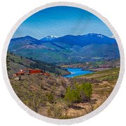 Perrygin Lake In The Methow Valley Landscape Art Round Beach Towel