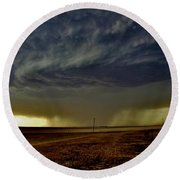 Round Beach Towel featuring the photograph Perryton Supercell by Ed Sweeney