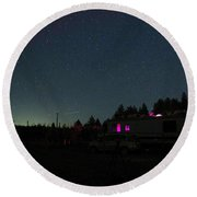 Perseid Meteor-julian Night Lights Round Beach Towel