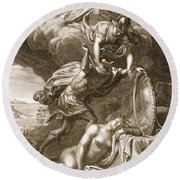 Perseus Cuts Off Medusas Head, 1731 Round Beach Towel by Bernard Picart