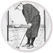 Round Beach Towel featuring the drawing Persistance by Ira Shander