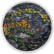 Round Beach Towel featuring the painting Persistence by Craig T Burgwardt