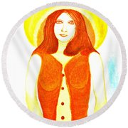 Round Beach Towel featuring the painting Personas 1 by Lorna Maza