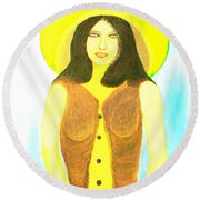 Round Beach Towel featuring the painting Personas 2 by Lorna Maza
