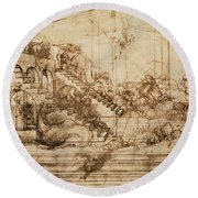 Perspective Study For The Background Of The Adoration Of The Magi Round Beach Towel