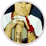 Pete Rose Poster Art Round Beach Towel