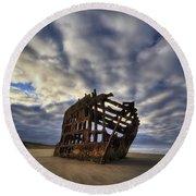 Peter Iredale Shipwreck Sunrise Round Beach Towel