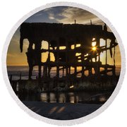 Peter Iredale Shipwreck Sunset Round Beach Towel