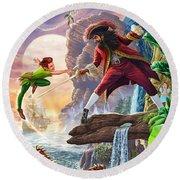 Peter Pan And Captain Hook Round Beach Towel