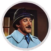 Peter Sellers As Inspector Clouseau  Round Beach Towel by Paul Meijering