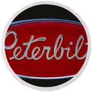 Peterbilt Semi Truck Emblem Round Beach Towel