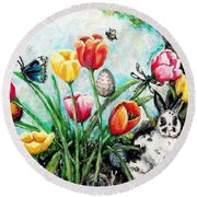 Round Beach Towel featuring the painting Peters Easter Garden by Shana Rowe Jackson