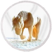Petite Licorne Doree Sortant De La Lumiere Round Beach Towel by Marc Philippe Joly