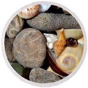 Petoskey Stones Ll Round Beach Towel by Michelle Calkins