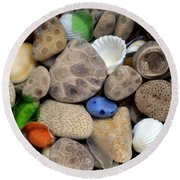 Petoskey Stones Lll Round Beach Towel by Michelle Calkins