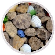 Petoskey Stones V Round Beach Towel by Michelle Calkins