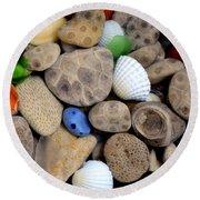 Petoskey Stones V Round Beach Towel