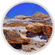 Round Beach Towel featuring the photograph Petrified Forest - Painted Desert by Bob and Nadine Johnston