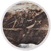 Petroglyph Bird Round Beach Towel