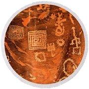 Petroglyph Symbols Round Beach Towel
