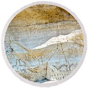 Petroglyphs At Petroglyph Point In Lava Beds Nmon-ca Round Beach Towel
