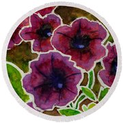 Petunia Round Beach Towel