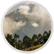 Peru Mountains With Cow Round Beach Towel by Allen Sheffield