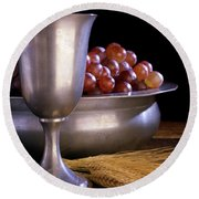 Pewter Chalice Grapes Wheat Communion Round Beach Towel