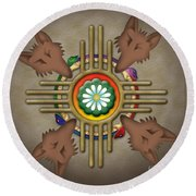 Peyote Coyote Round Beach Towel by Timothy Lowry