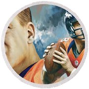Peyton Manning Artwork Round Beach Towel