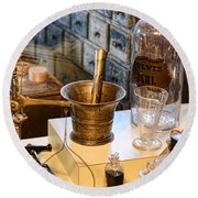 Pharmacist - Brass Mortar And Pestle Round Beach Towel by Paul Ward