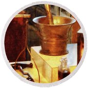 Round Beach Towel featuring the photograph Pharmacist - Brass Mortar And Pestle by Susan Savad