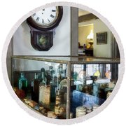 Round Beach Towel featuring the photograph Pharmacist - Corner Drug Store by Susan Savad