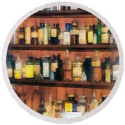 Round Beach Towel featuring the photograph Pharmacist - Mortar Pestles And Medicine Bottles by Susan Savad
