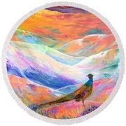 Pheasant Moon Round Beach Towel