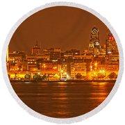 Philadelphia Across The Delaware Round Beach Towel by Adam Jewell