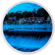 Philadelphia Boathouse Row At Sunset Round Beach Towel