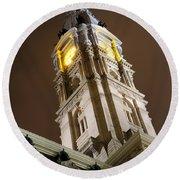 Philadelphia City Hall Clock Tower At Night Round Beach Towel by Gary Whitton