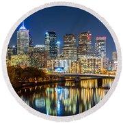 Philadelphia Cityscape Panorama By Night Round Beach Towel by Mihai Andritoiu